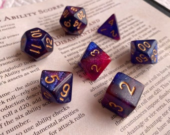 WISH dnd dice set for Dungeons and Dragons rpg,  ttrpg d20 polyhedral dice set - gorgeous purple, blue, pink galaxy dice!