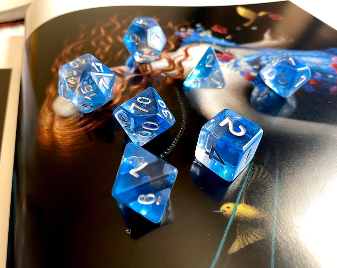 WATER DROP DNd DIce SEt FOr DUngeons ANd DRagons RPg, POlyhedral DIce SEt For TTrpg