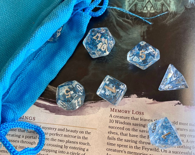 SOLSTICE dnd dice set for Dungeons and Dragons D&D RPG, Polyhedral dice set for fans of Tabletop Role Playing Games - shimmering stars!