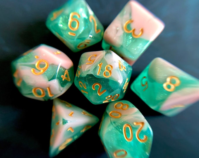 Sandy Shores dnd dice set for Dungeons and Dragons. d20 Polyhedral dice set for nature lovers