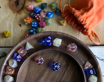 Handcrafted SOLID Wood Dice Tray for Dungeons and Dragons TTRPG, Walnut d20 DND dice Tray for fans of Critical Role, Warhammer 40K
