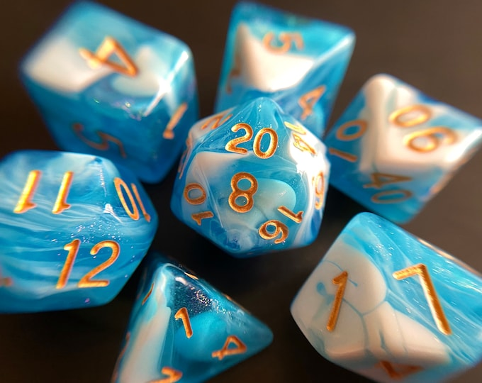 Glacier dnd dice set for Dungeons and Dragons, d20 polyhedral dice set for tabletop role playing games TTRPG