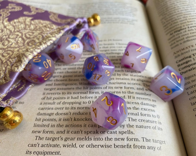 d&d dice Stone of the Princess pink/purple polyhedral Dnd dice set for dungeons and dragons rpg