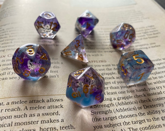 POISON DART Frog Dnd Dice Set, Polyhedral Dice Set for Dungeons and Dragons, Pathfinder RPG - Frog jelly blobs!