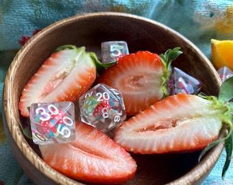 Fruit Salad Dice set - Dnd Dice Set for Dungeons and Dragons Polyhedral DIce SEt D20 D6 -Food Inside!
