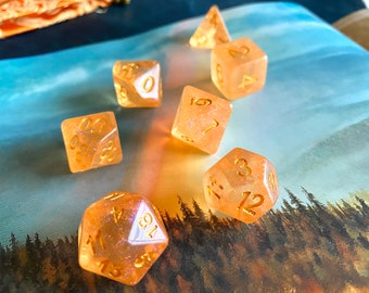 Peach SUNSHINE dnd dice set, Orange and purple  D&D DIce SEt, POlyhedral DIce SEt for DUngeoNs and DRagons