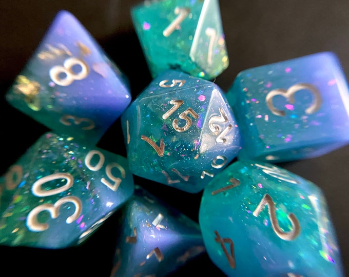 Fey Magic DnD dice set for Dungeons & Dragons, Polyhedral dice set for role playing games ttrpg rpg