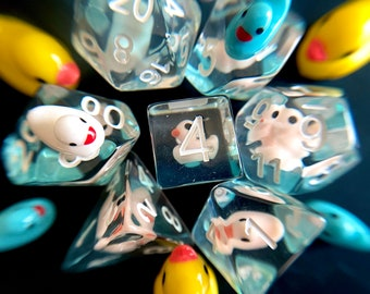 Winter DUCKY dnd DIce SEt for Dungeons and Dragons TTRpg, Polyhedral dice set for Tabletop role playing games - cute tiny ducks!