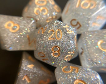 WHite SHimmer DNd DIce SEt, RPg DIce SEt FOr DUngeons & DRagons POlyhedral DIce SEt D20