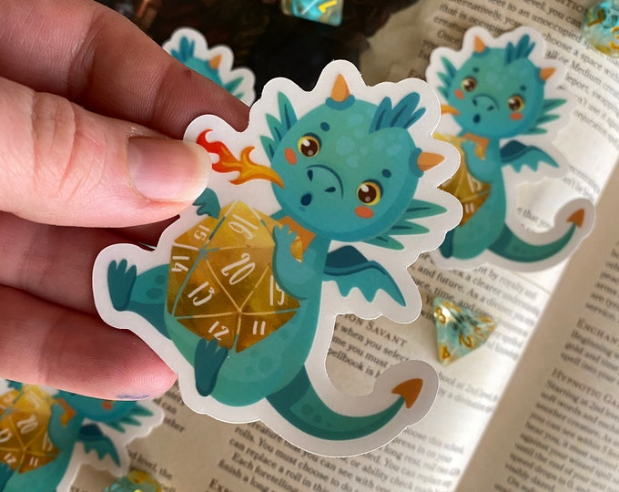 D20 Dice Sticker, Dragon Vinyl Decal, Dice Decal Sticker 4 DUngeons ANd DRagons