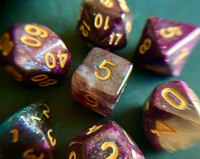 Mystic MIDNIGHT DNd DIce SEt 4 DUngeons aND DRagons TTrpg, POlyhedral DIce SEt, D20 GAlaxy DIce