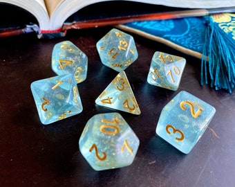 Dewdrop DNd DIce Set for Dungeons and Dragons RPG - Polyhedral dice set for TTRPG - SHimmering blue water sparkle
