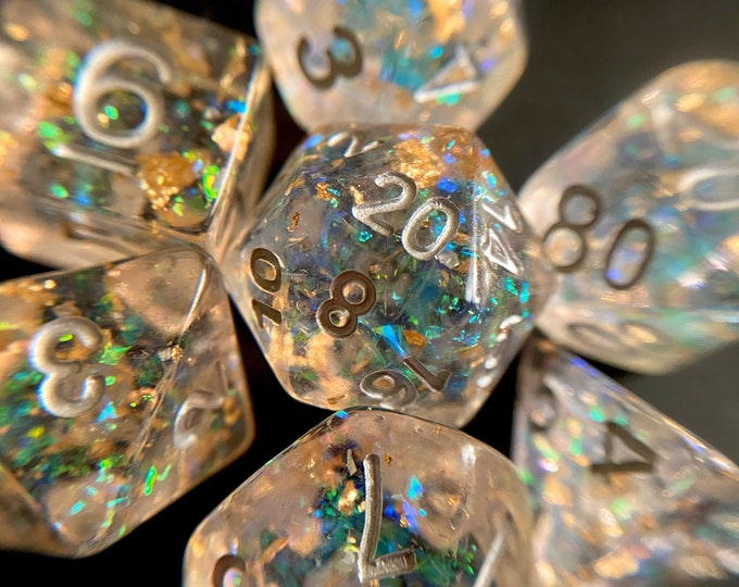 "STARDUST ""flawed"" DNd DIce SEt for Dungeons and Dragons TTrpg, d20 Polyhedral Dice Set for Tabletop Role Playing Games"