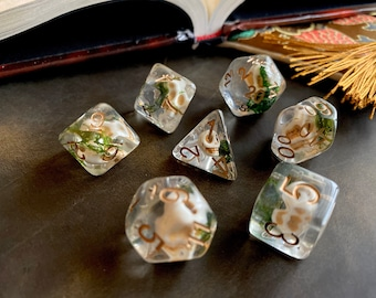 SKULL DICE dnd DIce SEt for Dungeons and Dragons TTRpg, Polyhedral dice set for Tabletop role playing games - tiny bone skulls inside!