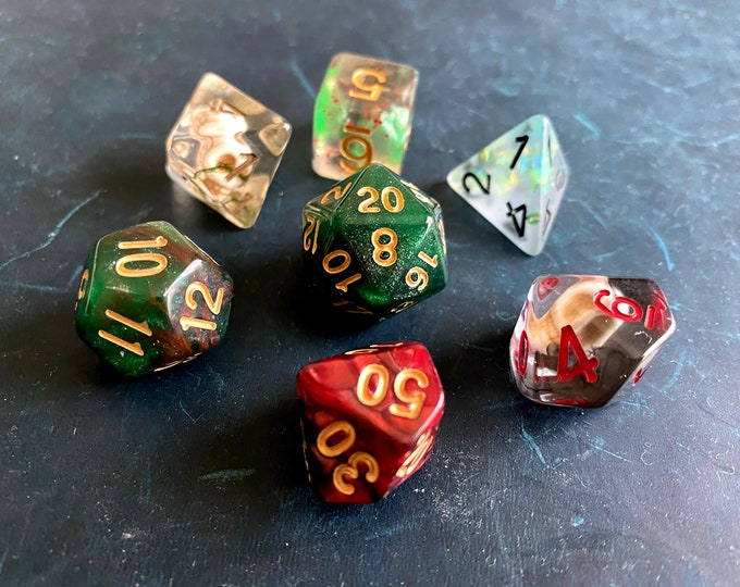 DARK SKULL Mixed DNd Dice set 4 Dungeons and Dragons RPg POlyhedral DIce