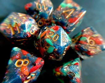 Goblin BREW Dnd DIce SEt For DUngeons And DRagons RPg, Polyhedral DIce Set For PAthfinder TTRPG - Recycled Resin Chips