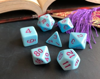 Blue Marshmallow DNd dice set for Dungeons and Dragons, d20 Polyhedral dice set for TTrpg, Tabletop Role Playing Games