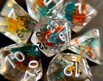 Jungle MOSS dnd dice set for Dungeons and Dragons TTrpg, d20 polyhedral dice set - REAL moss plants inside!