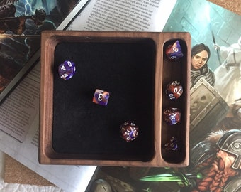 Handmade SOLID Wood dice tray for RPg DICE set W/genuine LEATHER liner