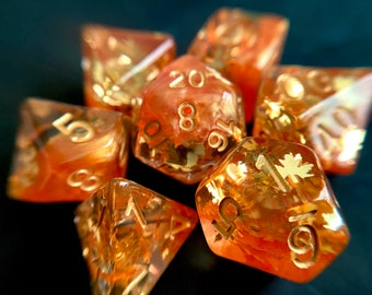 Autumn LEAVES Dnd DIce Set for Dungeons and DRagons TT RPg, d20 Polyhedral dice set  -- beautiful fall themed sparkle!