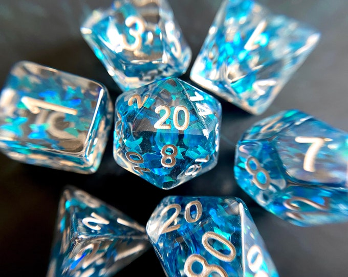 Butterfly Sky dnd dice set for Dungeons and Dragons ttrpg, d20 role playing game with pretty sparkles inside
