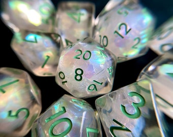 Frozen  Tears dnd dice set for Dungeons and Dragons, d20 Polyhedral dice set for TT RPG - incredible iridescent sparkles!