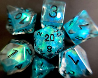 Deep Tears dnd dice set for Dungeons and Dragons, d20 Polyhedral dice set for TT RPG - incredible iridescent sparkles!