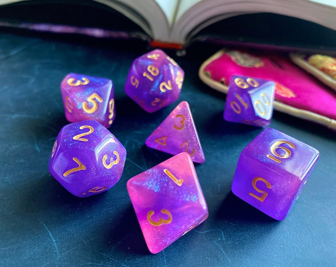 ENCHANTMENT dnd dice set for Dungeons and Dragons rpg, pink / purple polyhedral dice set for ttrpg