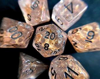 Champagne DnD Dice Set for DUngeons & Dragons RPG, D20 TTRPG POlyhedral DIce SEt - PInk TInt with gold flakes