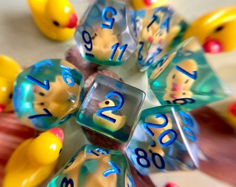 Ducky dice, Dnd dice set, d20 ducky - dungeons & Dragons DICE, Polyhedral dice set for Tabletop Role Playing Games - yellow rubber duck dice