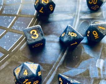 STARRY SKY DNd DIce SEt for DUngeons and DRagons Rpg, Blue and black polyhedral dice set for Pathfinder TTrpg with sky sparkle
