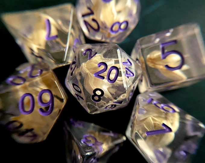 Wheat Fields dnd dice set for Dungeons and Dragons, d20 Polyhedral dice set for TT RPG - REAL grain inside!