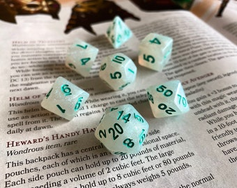 Celestial Green dnd dice set for Dungeons and Dragons, Polyhedral dice set for d20 tabletop role playing games