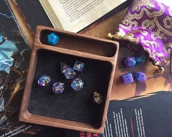 DIce TRay HANDMADE Wood for dnd dice set W/genuine LEATHER liner  Warhammer 40K, Magic the Gathering, Dungeons & Dragons WALNUT