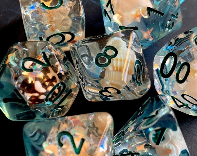 Siren Song - dnd dice set for Dungeons and Dragons, d20 Polyhedral dice set - REAL Sea Shells inside!
