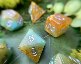 Rainforest dnd dice set, d20 druid dice, polyhedral dice set for Dungeons and Dragons TTRPG, Tabletop Role Playing Games