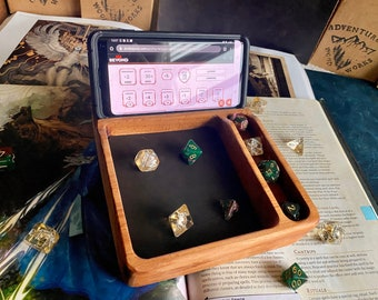 MEDIA Wood DnD DIce Tray For Dungeons And Dragons RPG - Handcrafted From Solid Hardwood for Phone or IPad, D&D Beyond