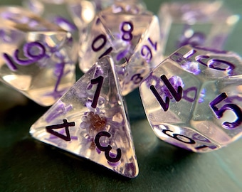 PLum Blossom dnd dice set for Dungeons and Dragons, d20 Polyhedral dice set for TT RPG - REAL beautiful flowers inside!