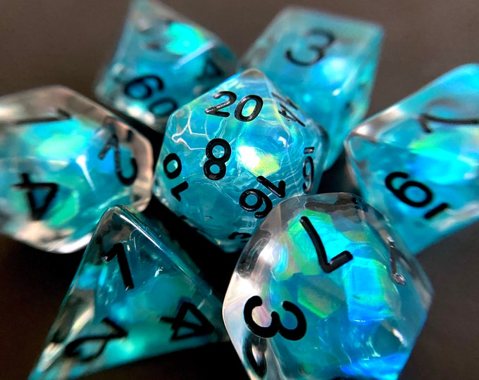 Tears of the Deep dnd dice set for Dungeons and Dragons, d20 Polyhedral dice set for TT RPG - incredible iridescent sparkles!