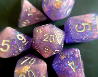 ENCHANTED Evening Dnd Dice Set for Dungeons and Dragons TTrpG, d20 Rpg tabletop gaming - super shimmery!