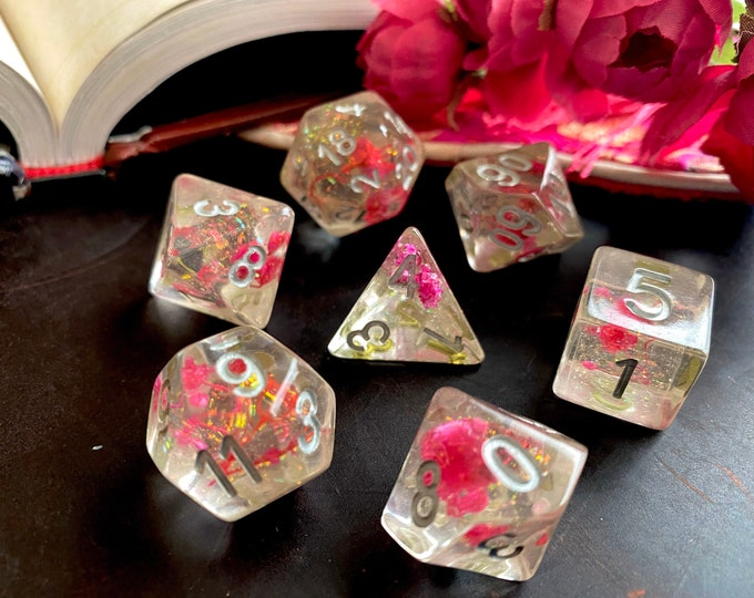 Flower GIRL DNd DIce Set for DUngeons and DRagons Ttrpg, PAthfinder Rpg Dice with Real FLowers Inside!!!