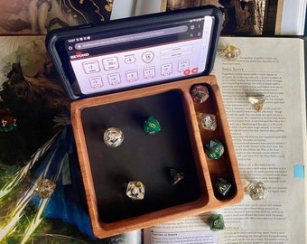 Wood DnD DIce Tray For Dungeons And Dragons RPG - Handcrafted From Solid Hardwood for Phone or IPad, D&D Beyond