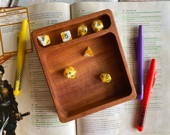 WOOD dIce TRay & Leather insert for Dnd dice set, warhammer 40k, Dungeons and Dragons gaming. HANDMADE w/genuine Mohogany