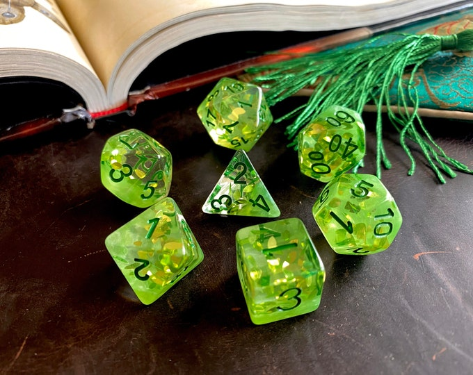 LEAVES Dnd DIce Set for DUngeons and DRagons TT RPg, Polyhedral dice set d20 d6 -- sparkling glitter