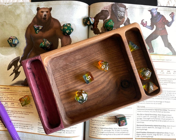 Hand crafted Wood dice tray for Dungeons and Dragons TTrpg, dnd gaming, Warhammer 40K - Solid Hardwood