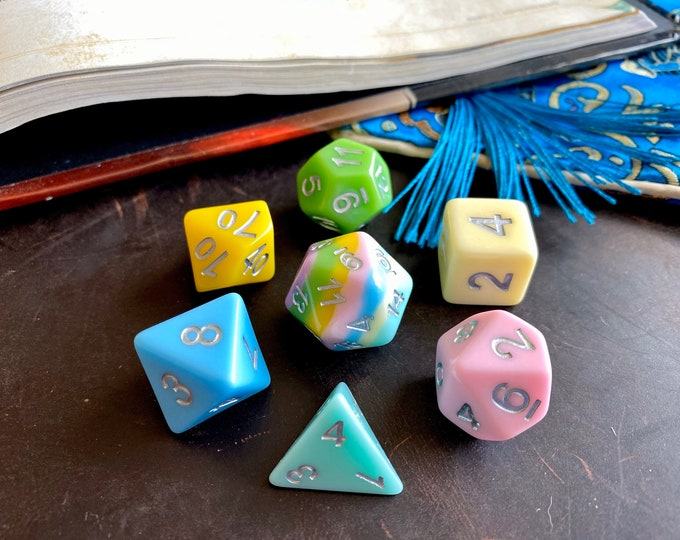 PASTEL RAINBOW dnd DIce SEt FOr DUngeons ANd Dragons TTrpg, POlyhedral DIce SEt D20