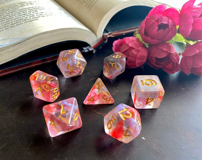 ROSE hip Dnd Dice Set for DUngeons and DRagONS Rpg, d20 polyhedral dice set for Tabletop rOle PLaying GAmes