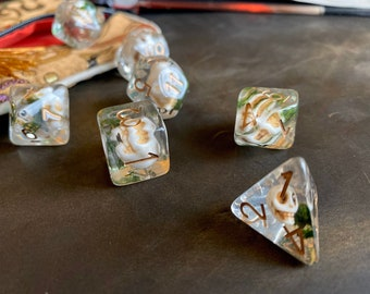 MOSSY SKULL dnd DIce SEt for Dungeons and Dragons TTRpg, Polyhedral dice set for Tabletop role playing games - tiny bone skulls inside!