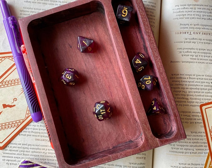 """Wood Dice Tray for Dungeons & Dragons Ttrpg Rpg Warhammer 40K, """"DEmi TRay"""", Handcrafted SOLID Hardwood with DICE Holding area"""