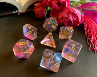 Pink PASSION dnd dice set for Dungeons & Dragons Rpg, POlyhedral dice set for Pathfinder Ttrpg - pink and blue swirling ink